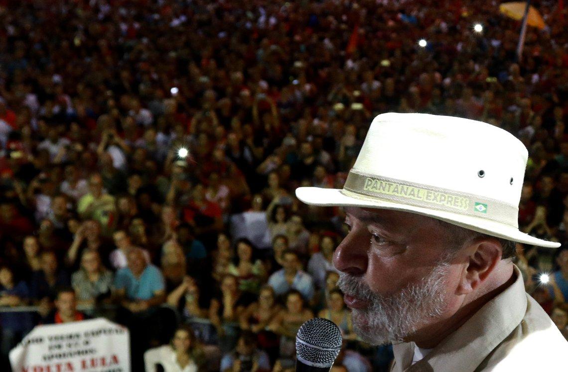 Former Brazilian President Luiz Inacio Lula da Silva attends a rally in Sao Leopoldo